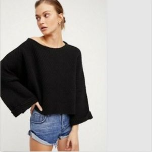 FREE PEOPLE I Can't Wait Cropped Sweater Black